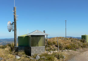 Our repeater hut on Mt. Climie, photographed in 2007